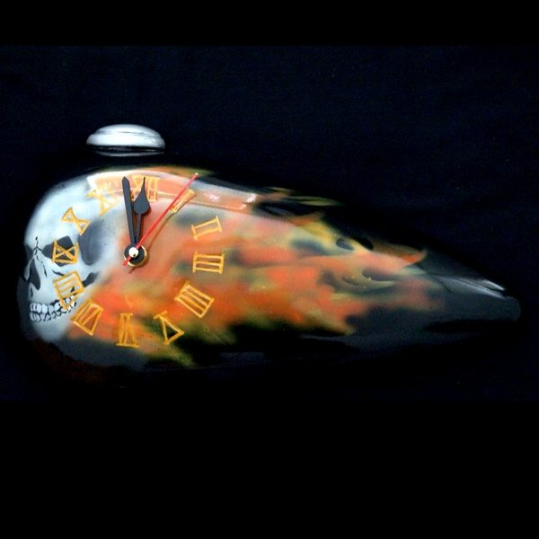 Skull Flame Tank Clock without Base