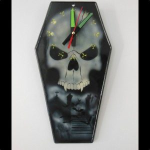 Cemetery & Half Skull coffin clock