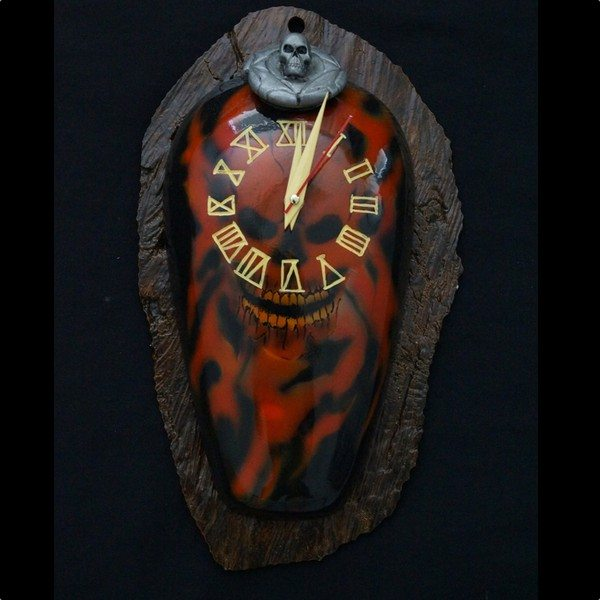 Skull Flame Upright Clock with base