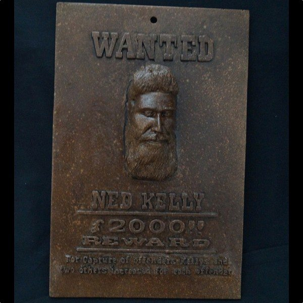 Ned Kelly wanted wall plaque